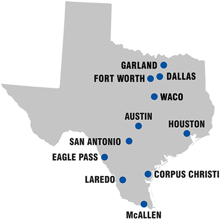 Map of locations within Texas
