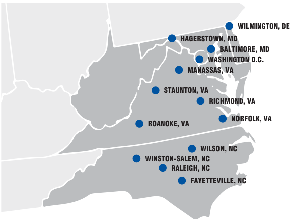 Map of Virginia Next-Day service locations
